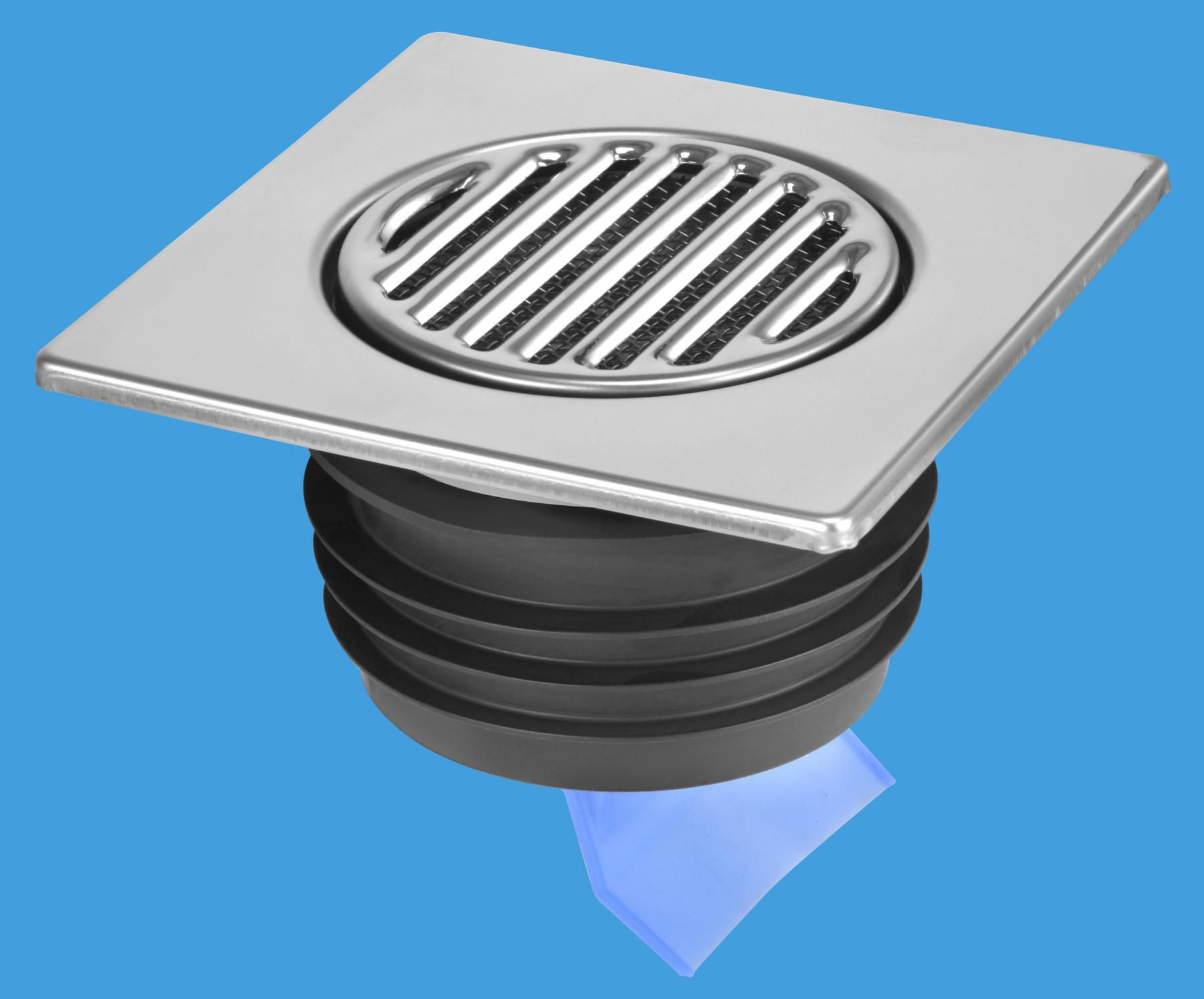 150mm Square Stainless Steel Tile with Internal Non-Return Valve (Push-fit Outlet)