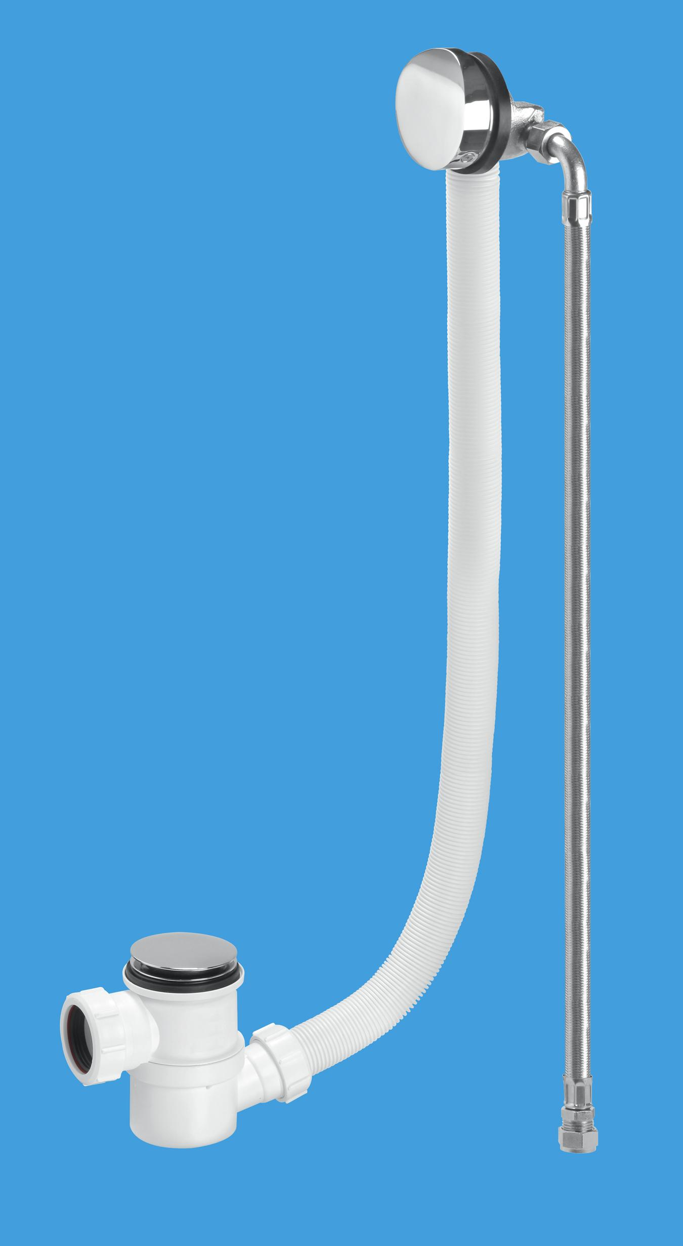 Chrome Plated Brass Bath Filler and Overflow (Top Access Clicker)
