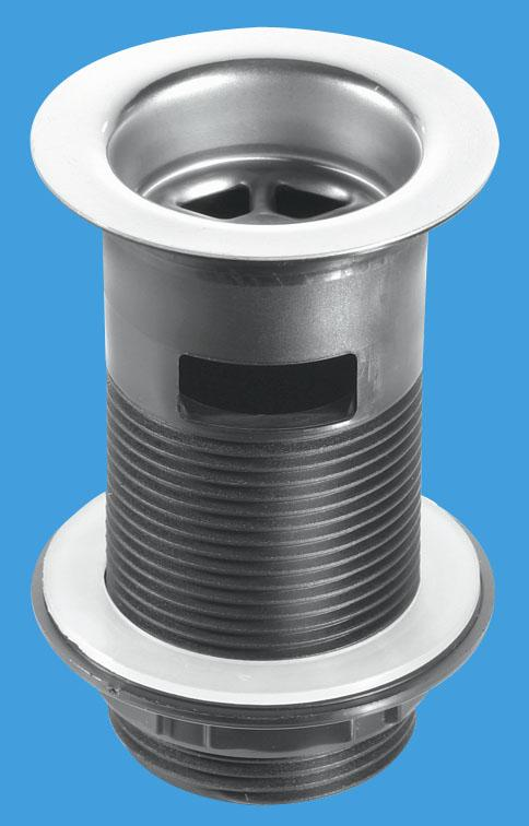 Black Plastic Backnut Basin Waste with Stainless Steel Flange