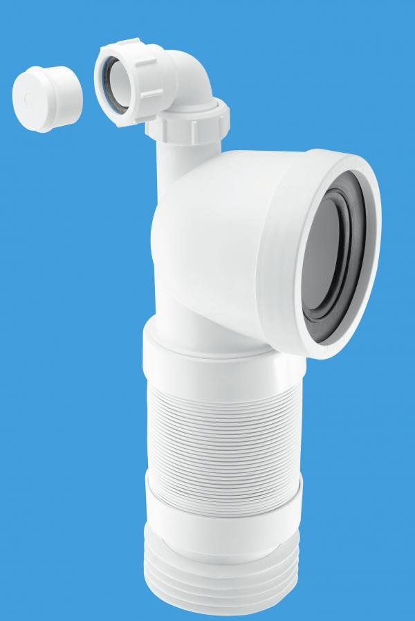 90° Flexible WC Connector with Universal Vent Boss