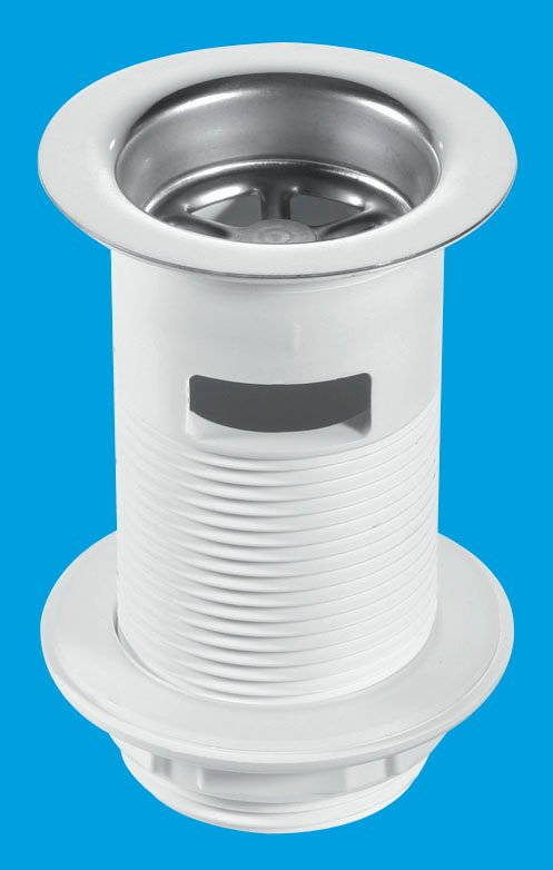 White Plastic Backnut Basin Waste with Stainless Steel Flange
