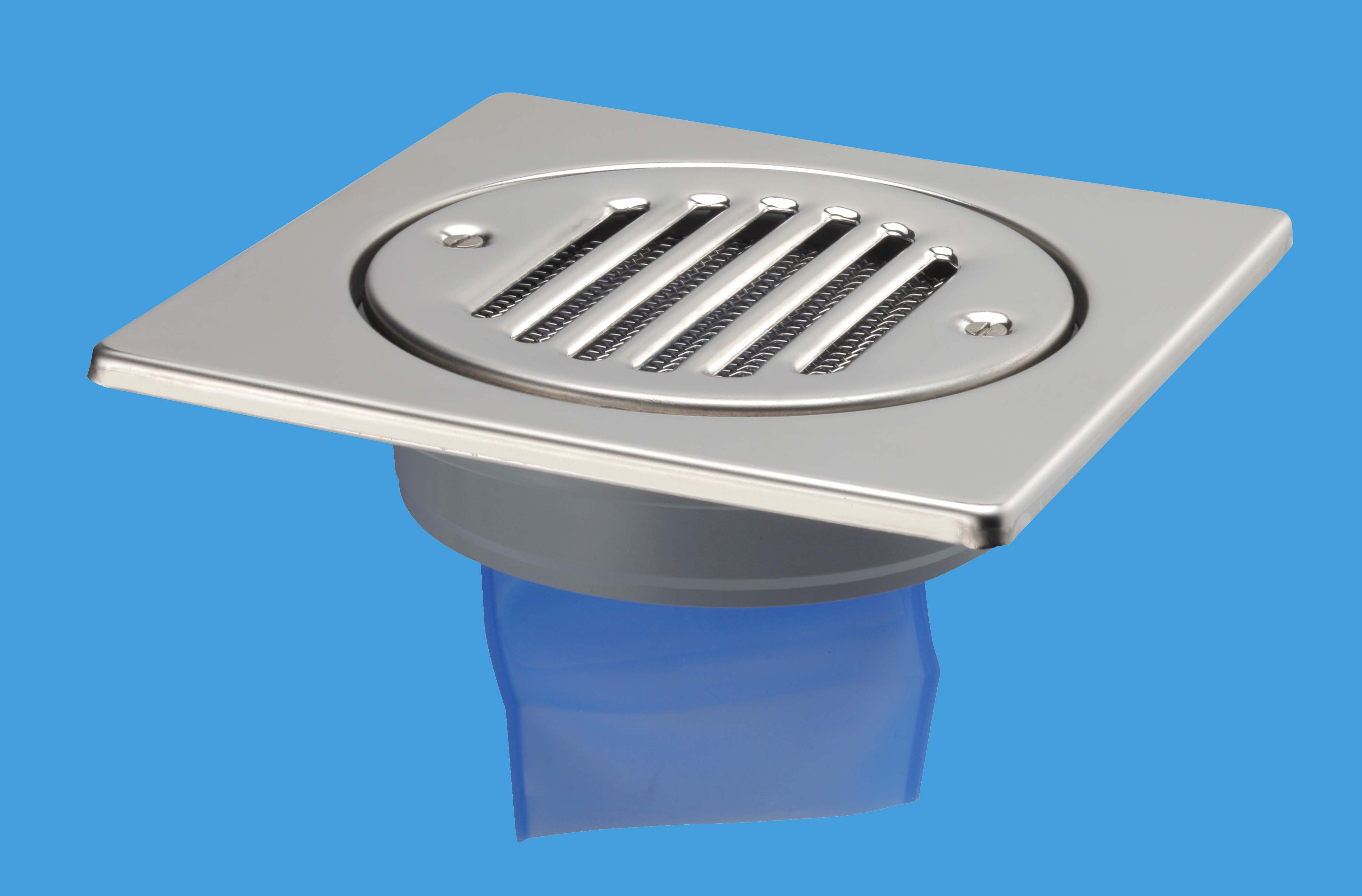 150mm Square Stainless Steel Tile with Internal Non-Return Valve (Solvent Weld Outlet)