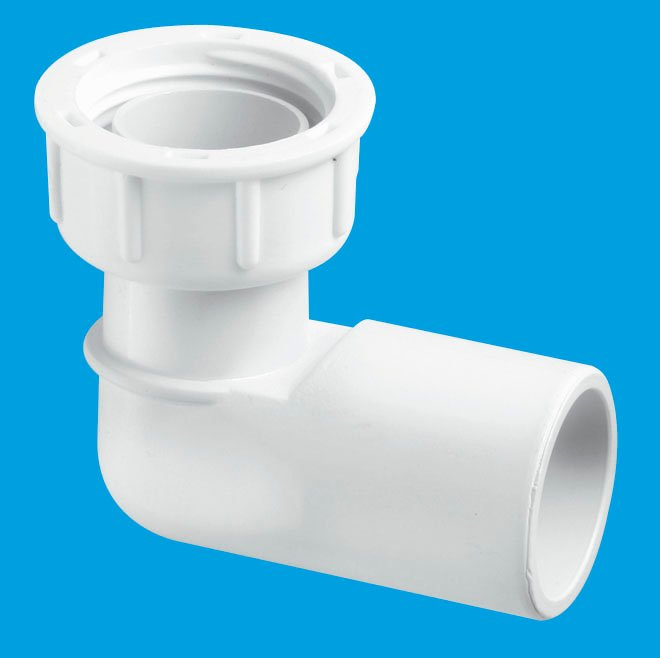 90° Female Overflow Coupling with loose nut