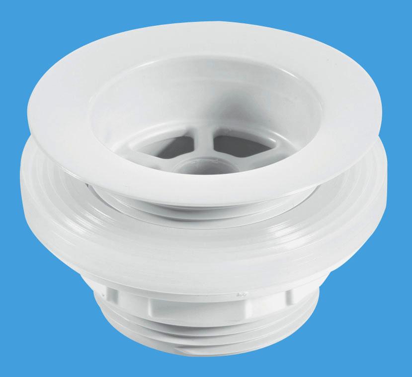 Backnut Bath Waste - White Plastic Flange
